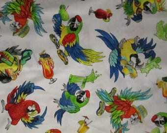 Margaritaville Jimmy Buffet Parrots Paradise White Cotton Fabric Fat Quarter Or Custom Listing