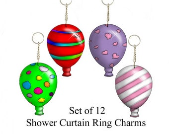 Festive Balloons..... Shower Curtain Bling Charms/Ornaments