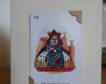 Vintage Alice in Wonderland game - made into greetings card - The Queen of Hearts