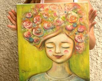 Whimsical art, Girls room decor, whimsical girl, canvas nursery art, canvas print, Girl with flowers in her hair, whimsical art for girl