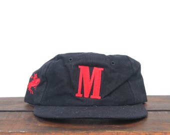 Vintage 90's Marlboro M Cigarettes Tobacco Rodeo Cowboy Mac Demarco Style Unstructured Strapback Hat Baseball Cap
