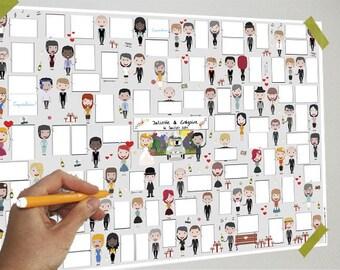 Wedding Poster - 70 bubbles - Guestbook, bubbles, messages, signatures, gift, poster, souvenir, party