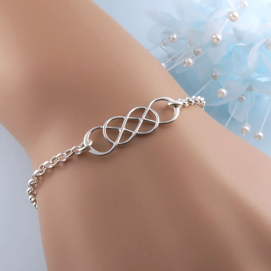 Double infinity bracelet in sterling silver unique jewelry zoom biocorpaavc