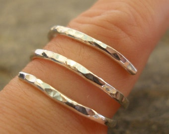 3 Strand Sterling Silver Hammered Spiral Ring, or in 9ct Gold. Wrap Round Ring. Made in any size.  Treat yourself or a lovely gift for her!