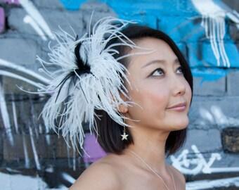Cream Black Feather Barrette Oversized Wedding Hair Clip