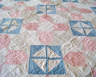 Vintage Quilt Handmade Pink and Blue