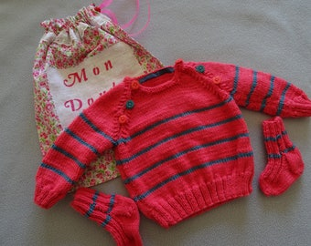 Striped sweater with socks and bag for a baby 3 months, birthday gift