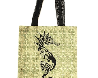 Seahorse Hand Screen Printed Vintage Style Women's Cotton Tote Bag, Yoga Bag, Beach Bag