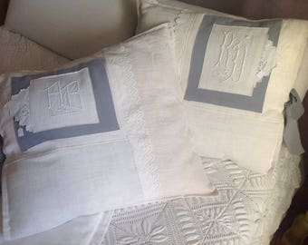 55/55 cm antique Monogram AB grey and ecru linen pillow cover