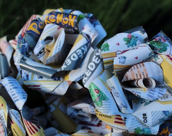 6 Pokemon Roses - Paper flowers made from a recycled Pokedex book