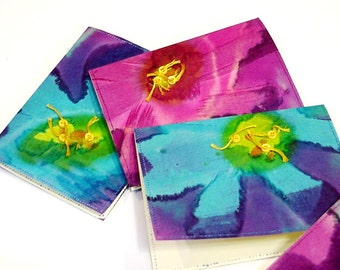 Batik Flower Cards, Everyday Blank Note Fabric Greeting Card, Textile Fiber Art Luau Tropical Hawaiian Stationery set of 3 itsyourcountry