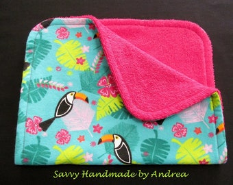 Toucan Burp Cloth, Novelty Burp Cloth with Toucans, Flannel and Terry Cloth Burp Cloth