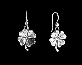 Four Leaf Clover Earrings Silver Clover Earrings - Clover Jewelry Lucky Jewelry Good Luck Charm Leaf Earrings Leaf Jewelry Saint Patricks