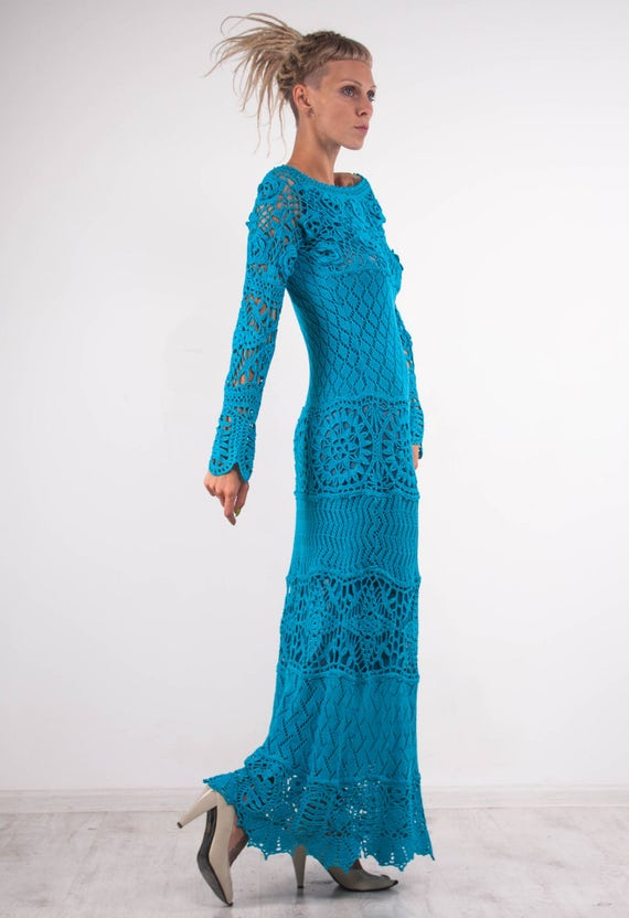 sleeves Dress Crochet Dress KNIT Crochet CROCHET lacy turquoise Dress Maxi asymmetric Dress Dress turquoise Handmade floor Dress Dress Knit 0qq4Pwxa
