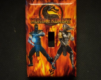 Light Switch Cover Mortal Kombat SubZero vs Smoke in a Fiery Background Single Toggle Print