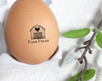 Egg Stamp - Farm Fresh with Barn - Chickens - Mini Stamp for Egg - Barn Stamp - Chicken Stamp - FarmhouseMaven