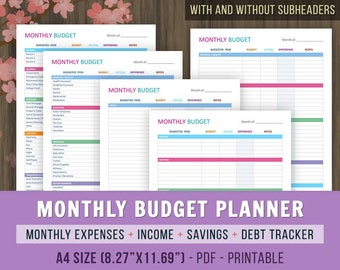 A4 Monthly Budget Planner, Monthly Budget Printables, A4 Family Budget Planner, Finance Printable, Monthly Finances Tracker, A4, 8.27x11.69