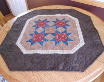 French Country Quilted Table Topper, Stars Quilted Table Topper, Country Quilted Table Topper, Free US Shipping