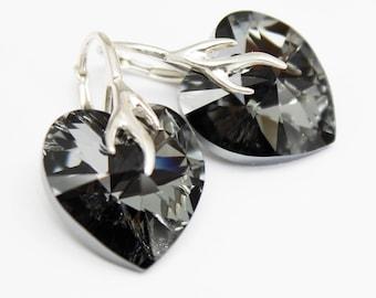 Earrings, Black Earrings, Heart Earrings, Grey Crystal, Silver  Night 18mm Swarovski Crystal Sterling, Modern Earrings, Gift for Her