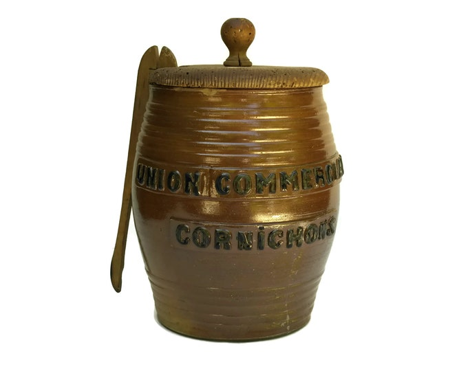 French Antique Stoneware Pickle Jar. Large Rustic Kitchen Decor Gherkin Canister with Advertising. Cornichons Pot. Foodie Gifts.