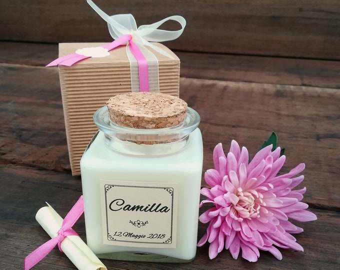 Wedding Favors candle 4oz, Lid cork, personalized, Baptism, Christening, Ceremony, Shabby chic bride, gift for guests, Summer wedding