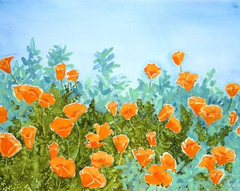 California Landscape, Art Print, Watercolor Painting, Poppies, Flowers, Orange painting, turquoise, Blue painting, Colorful floral painting