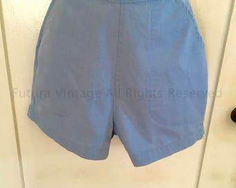 1950s BLUE BELL High Waist Light Blue Shorts with Front Pockets and Back Metal Zipper-XS