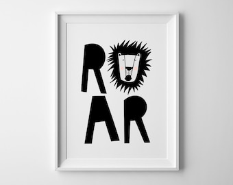 Baby Lion wall art, Lion 'Roar' Baby room art in Black and white-Jungle lion typography print-Modern print, wall art-baby shower art