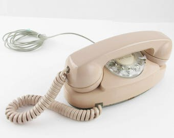 1980s Western Electric 'Princess' Telephone - Rotary Dial - Tan - Sturdy - Attached Landline - Great Color