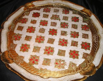 """Opulent Festive Italian Florentine Hand Crafted/Painted Festive Gilt Wood Tray 17"""" Shabby Chic serving Christmas colours."""