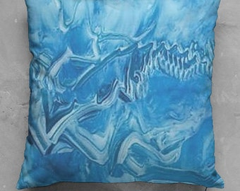 Arctic Blue Square Pillow