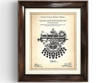 TYPEWRITER MACHINE | 1897 | Patent Print | Victorian Typewriter | Office Art | Study Print | Vintage Gift | Writer Gift | Author Gift