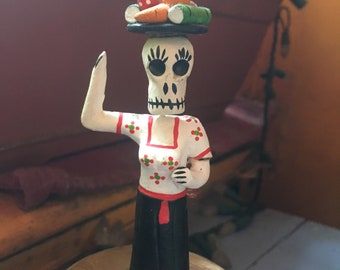 Frida Catrina Day of the Dead Ceramic Figurine, Dia de los Muertos Skeleton Miniature, Mexican Folk Art