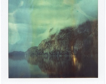 Norway, Old Polaroids, SX70, Polaroid Photography, Fjord, Cliffs, Mountains, Fjord, SX 70, Landscape Photography, Cloudy Morning, Polaroid