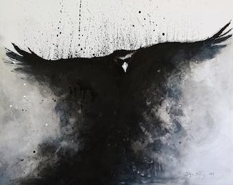 Big painting, raven art, 70 x 90 cm, original ink art