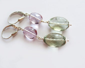 Pastel Delight - Green And Pink Amethyst in Sterling Silver Earrings