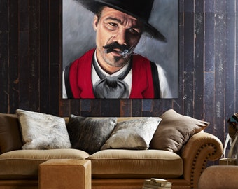 Doc Holiday painting Cowboy art western canvas print