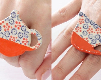 Ceramic Jewelry Cocktail Rings  - Christmas Special, big rings, ceramic and pottery,  handmade ring, unique rings, statement rings