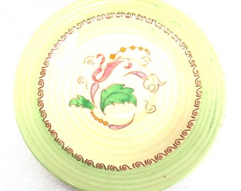 Clarice Cliff Saucer or Small Plate, 1930's Lynton Shape, Unknown Light Green Abstract Floral Pattern, Immaculate Condition