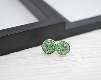 Green Druzy Earrings, Druzy Stud Earrings, Light Green, Mint Green, Faux Druzy, Silver Stud Earrings, Faux Plugs, Metallic Earrings, Studs