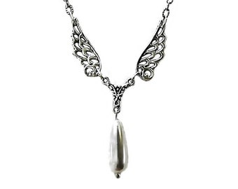 Guardian Angel Wings charm necklace with pearl teardrop Tibetan Silver