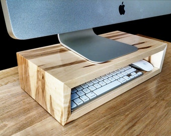 Ambrosia maple monitor stand | Desk organizer | Computer riser | Desktop storage cubby | Laptop dock | TV riser
