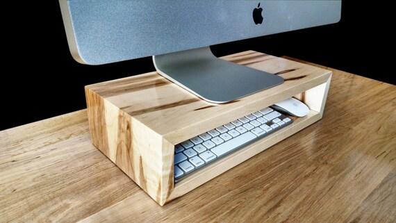 Ambrosia Maple Monitor Stand Desk Organizer Computer Riser