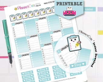 Etsy Shop Stickers,  Kawaii Printable Planner Stickers,  Blue Etsy Orders Tracking, Processing Etsy Orders, Erin Condren, K028