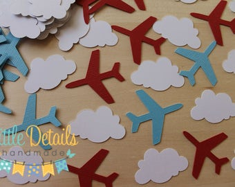 Airplane Party Confetti, Airplane and Cloud Confetti, Airplane Birthday