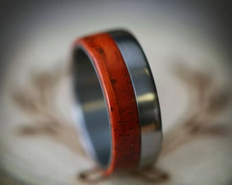 "The ""Tanner"" - Padauk Wood Wedding Ring - Staghead Designs"