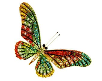 Butterfly Brooch, Butterfly Broach, Rainbow Rhinestone Realistic Butterfly Jewelry Component, Insect Bug DIY Craft Project Embellishment