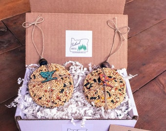 Gift Set of (2) Bird Seed Ornaments with Wooden ball, new neighbor, housewarming, coworker, thank you, welcome, bird feeder, bird watching