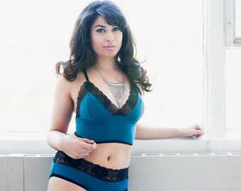 Bamboo Teal Bra With French Lace - Lingerie Custom Fit - 'Dahlia' Style