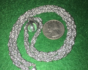 Chainmaille Necklace- Byzantine Chain- Claw Pendant